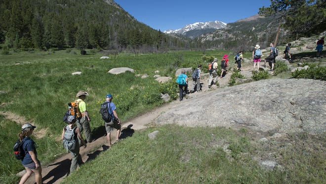 Stay the trail when hiking in Rocky Mountain National Park.