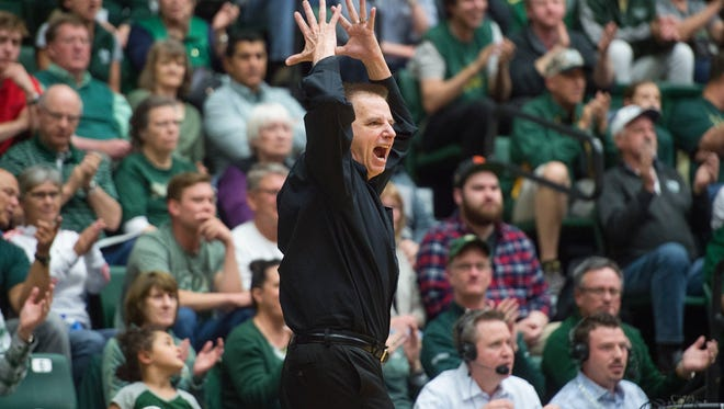 Larry Eustachy, who resigned earlier this week as CSU's men's basketball coach, shows his frustration after receiving a technical foul during an NIT game against the College of Charleston on March 14, 2017, at Moby Arena.