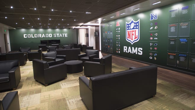 Couches and games fill the players lounge, seen during a tour of the new CSU football stadium on Tuesday, July 18.