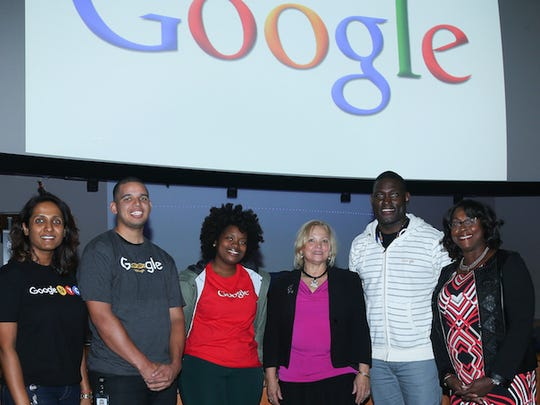 Rima Pitte, Sam Morales, Alyssa Peters, Elis Sosa, Andrew Walker and Yvonne Segars (from left to right) addressed an audience of college students from disadvantaged backgrounds at Kean University's Google on Campus event.