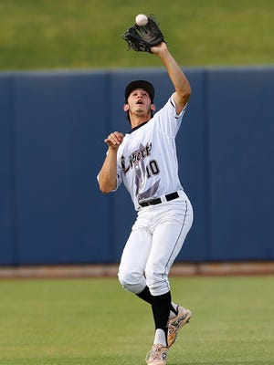 Liberty's Tyler Wyatt makes a catch to end the fourth inning of  their Division I state tournament game at Maryvale Baseball Stadium on Wednesday, May 13,  2015 in Phoenix.