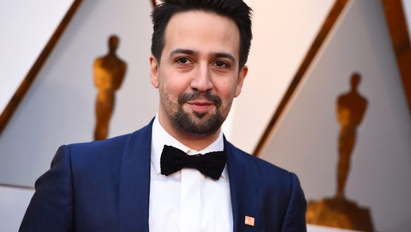 Lin-Manuel Miranda arrives at the Oscars on March 4,