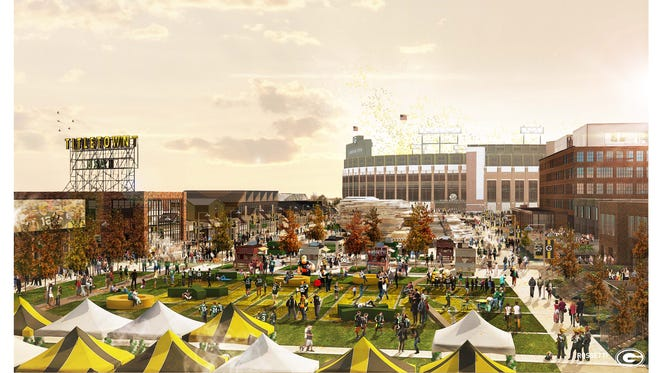 An artist's rendering of the Titletown District's public space.