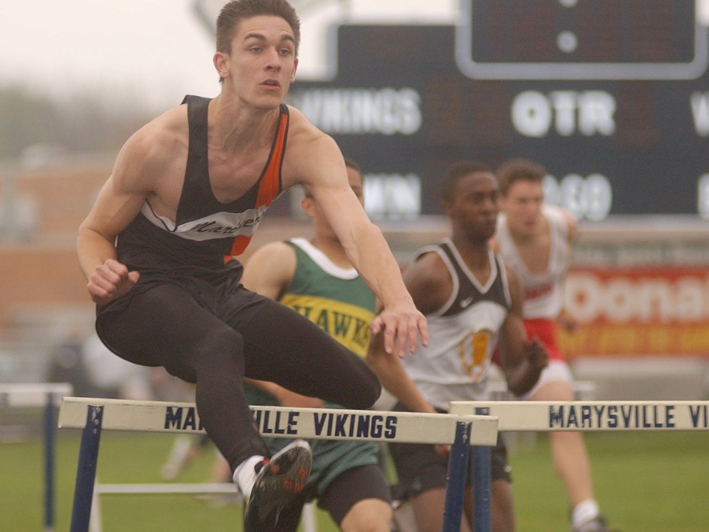 Marine City's Rich LaCroix holds the Blue Water Meet of Champions record in the 110 hurdles, running 14.3 in 2003.