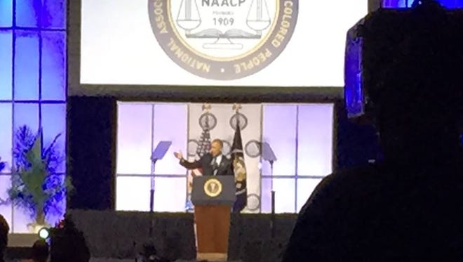 President Obama addresses the 106th annual convention of the NAACP, in Philadelphia, on July 14, 2015.