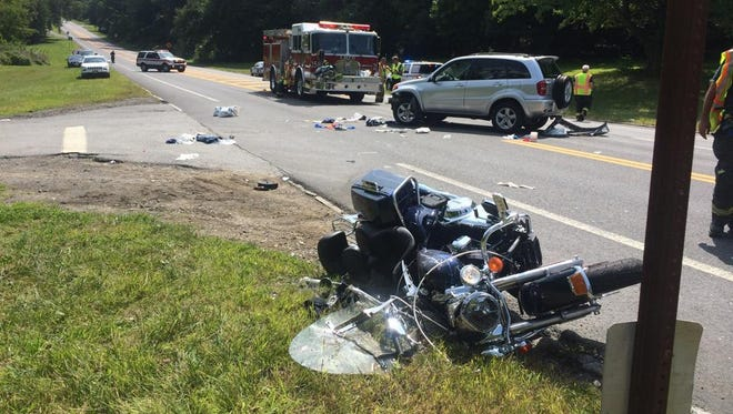 Motorcycle and sport utility vehicle crash on the Bear Mountain Parkway on August 16, 2014. The biker and passenger were taken to Westchester Medical Center with unspecified injuries.