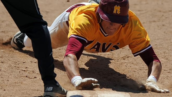 McCutcheon's Kelden Tyson dives for first to escape a pick off in the Jeff sectional championship Monday at Loeb stadium.