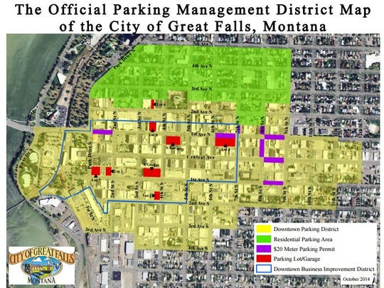 A map of city owned parking facilities within the the City of Great Falls' Parking Management District