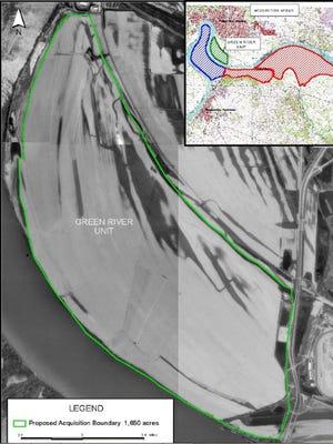 Map rendering of proposed  Green River National Wildlife Refuge