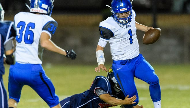 Bagdad's Israel Loveall gets away from NFL Yet Academy's Chris Hernandez in the first quarter of their high school football game on Friday, Sept. 22, 2017, at NFL Yet Academy in, Phoenix Ariz.