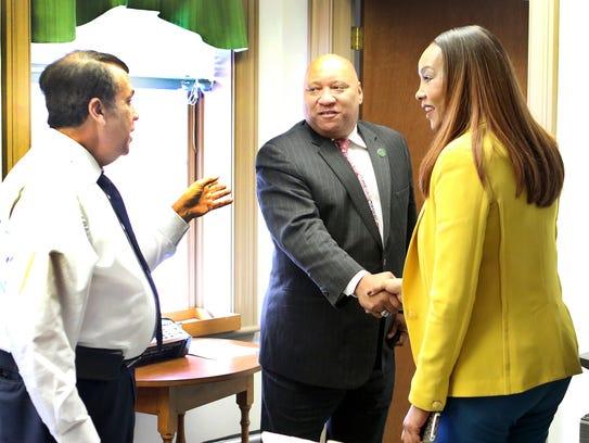 Dover Mayor Robin Christiansen (left) introduces actor