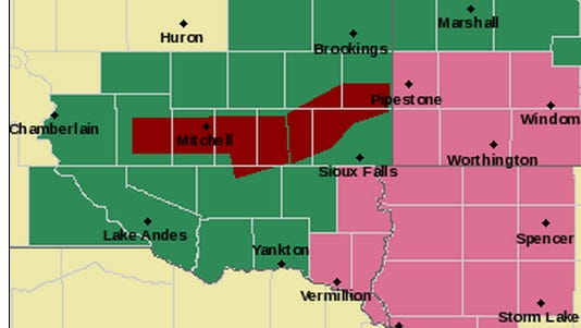 Areas in red are under a flash flood warning. Green is flash flood watch.
