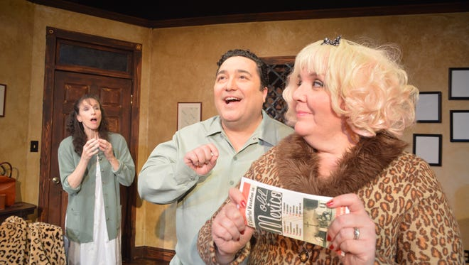 Damian Muziani as Artie Shaughnessy and Gabrielle M. Affleck - as Bunny Flingus in a scene from 'House of Blue Leaves.'
