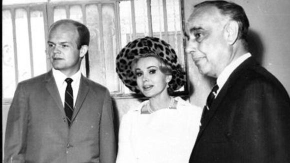 10/19/1967 Second quickie divorce from husband number 5. Right to left, L.A. attorney Manuel Ruiz Jr., Zsa Zsa Gabor and her secretary Carl Parsons.
