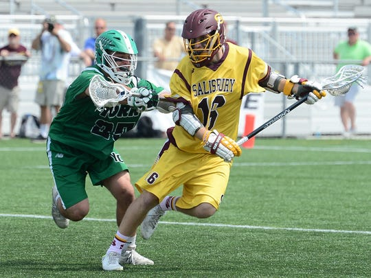 Salisbury's Josh Melton on attack against York on Saturday, April 29, 2017 during the CAC championship match.