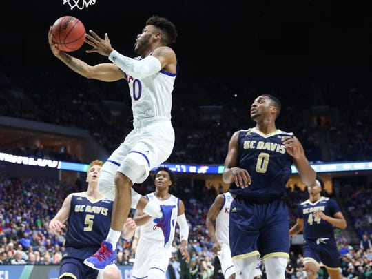 """Kansas senior point guard Frank Mason, described as a """"one-man wrecking crew,"""" averages better than 20 points per game and is a national player of the year candidate."""