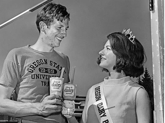 University of Oregon high-jump legend Dick Fosbury poses with past princess Melodee Purvis. Other past Dairy Princesses will be appearing at this year's state fair Aug. 28 through Sept. 7 at the state fairgrounds.