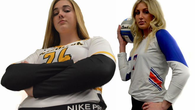 Hamilton's AJ Ediger (left) and Saugatuck's Zoe Myers were the top volleyball players in the area.