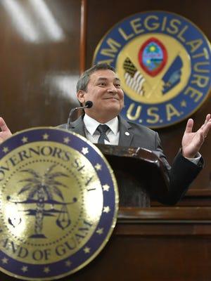 Gov. Eddie Calvo delivers his annual State of the Island address at the Guam Legislature in February 2015.