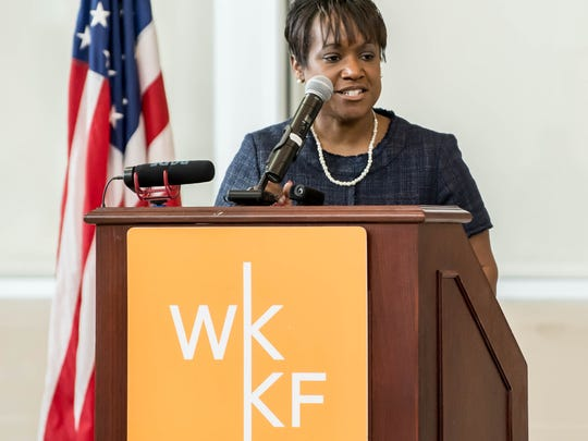 Battle Creek Public Schools Superintendent Kim Carter speaks during W.K. Kellogg Foundation's May 2 announcement at Battle Creek Central High School.