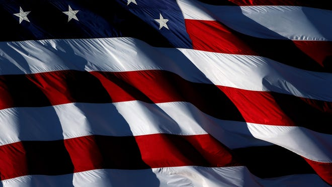 A detailed view of an American flag.