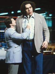 Wrestling promoter Vince McMahon interviews Andre the Giant,  the subject of a new HBO documentary about Andre's life. The 500-pound Andre helped his popularity by wrestling in small towns and spending time with local media.
