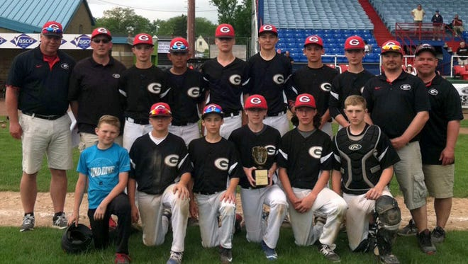 The Corning Gaffers travel baseball team defeated MVP to win the Dunn Field Classic 14-under title May 28. Front, from left: bat boy Daniel Lewis, Landon Burch, John Greene, Ethan Callahan, Mason Smith and Derek Lewis.