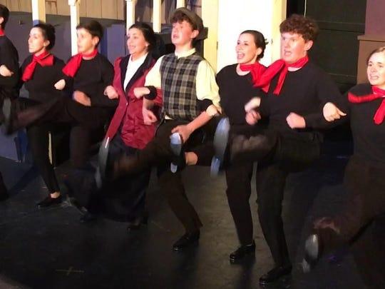 "Michael Matherne, Micaela Jolly, Ben Crawford, Kelly Cole (Mary Poppins), William McCandlish (Bert), Grace Cummings, Robert McCandlish, and Hannah Matherne in the Jolly Cast of ""Mary Poppins"" perform the dance ""Step in Time."""