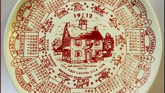 1912 Calendar Plate promoting the First Capitol of U.S.A. as the York County Court House in York, PA (Collections of S. H. Smith)