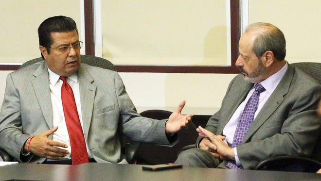 Juárez Mayor Armando Cabada speaks with El Paso Mayor Oscar Leeser during a meeting Wednesday at El Paso City Hall. The two mayors reaffirmed their commitment to continued cooperation and dialogue following the U.S. presidential election.