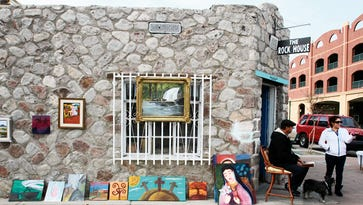 Local artwork sits outside the Rock House art gallery at 400 W. Overland in the Union Plaza District.
