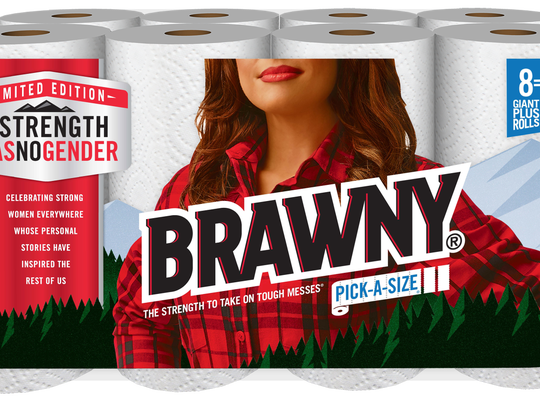 Packaging for the Brawny #StrengthHasNoGender campaign features a woman in place of the traditional Brawny Man.