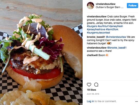 Outlaw's 2016 #jerseyfreshlove winning crab cake burger.