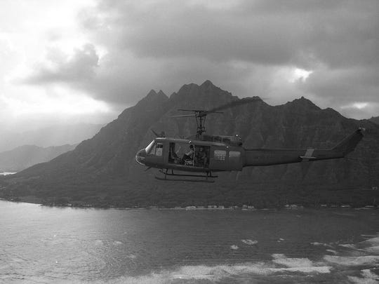 The cast took Huey rides in Hawaii for key scenes in