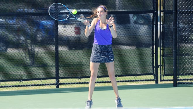 Wylie's Madison Andrews hits a shot during the girls doubles District 5-4A final at Hardin-Simmons University's Streich Tennis Center on Thursday, April 5, 2018. Andrews and Hailey Parker won 2-6, 6-3, 6-3.