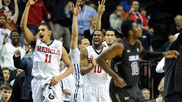 Mar 12, 2015; Nashville, TN, USA; Mississippi Rebels celebrate after a play during the second half of the second round against South Carolina Gamecocks of the SEC Conference Tournament at Bridgestone Arena. Mandatory Credit: Joshua Lindsey-USA TODAY Sports