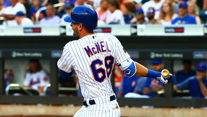 New York Mets second baseman Jeff McNeil (68) singles against the Cincinnati Reds during the first inning at Citi Field.