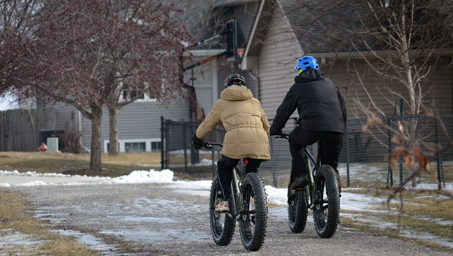 A plan for improving bike paths for the metro area is in the works for folks riding through areas including North Liberty, as seen in this photo taken during the Beat the Bitter Winter Games on Feb. 6, 2016.