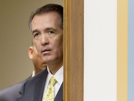 """In this June 18, 2013 file photo, Rep. Trent Franks, R-Ariz. watches a House Judiciary Committee hearing on Capitol Hill in Washington. Republican leaders are planning a House vote next week on a bill banning nearly all late-term abortions after dropping a requirement for reporting rapes that sparked a January rebellion among GOP women and moderates. Franks, the bill's chief sponsor, said the measure """"will now unite the pro-life base in a positive and effective way."""""""