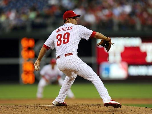 Philadelphia starting pitcher Adam Morgan throws during Friday's game against Miami.