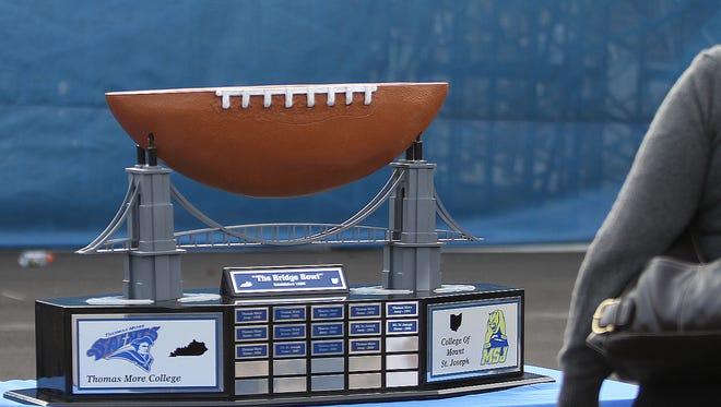 The Bridge Bowl Trophy on display at the Thomas More Mt. St. Joe football game at Bank of Kentukcy Field.