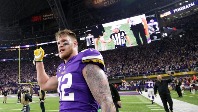 The idea for the facility came about in 2014 when Rudolph signed a contract extension.  USA TODAY Sports Jan 14, 2018; Minneapolis, MN, USA; Minnesota Vikings tight end Kyle Rudolph (82) celebrates after the NFC Divisional Playoff football game against the New Orleans Saints at U.S. Bank Stadium. Mandatory Credit: Brad Rempel-USA TODAY Sports