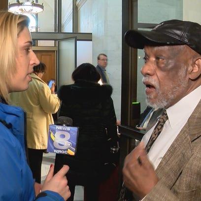 WROC-TV's Ashley Edlund questions Assemblyman David