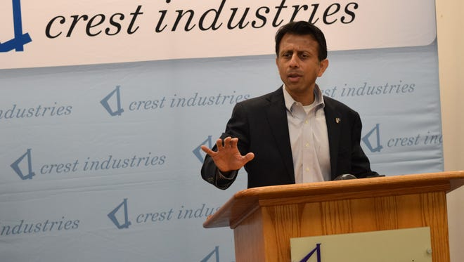 "Gov. Bobby Jindal, speaking at a news conference Tuesday at Crest Industries in Pineville, says, ""We got elected to take on the big challenges, and we took on a lot of them."""