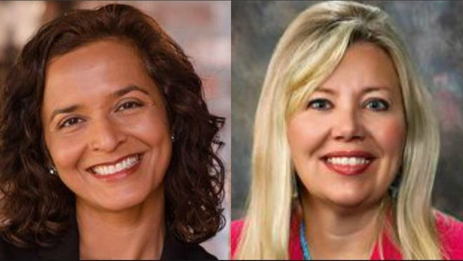Hiral Tipirneni, the Democratic nominee (left) in CD 8, and Debbie Lesko, the Republican nominee.