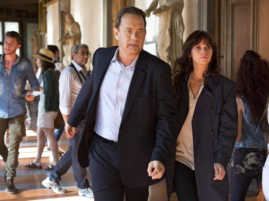 """In this image released by Sony Pictures, Tom Hanks, left, and Felicity Jones appear in a scene from, """"Inferno."""""""