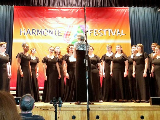 Members of the Mansfield University Choir perform at the 2017 Harmonie Festival in Limburg-Lindenholzhausen, Germany