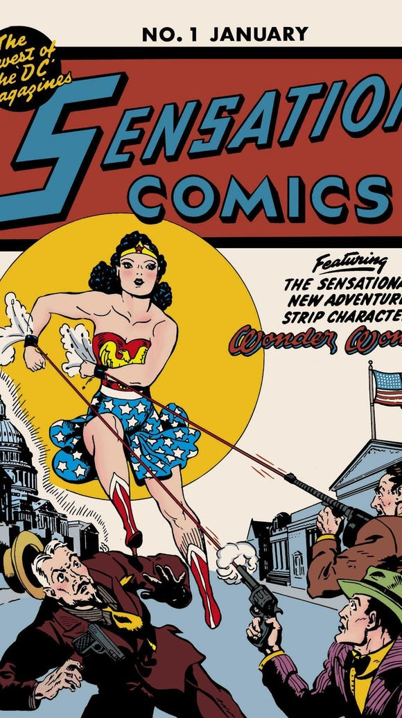 The cover of a vintage WonderWoman comic book.
