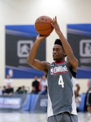 Kobi Simmons, from Arizona, participates in the NBA draft basketball combine Friday, May 12, 2017, in Chicago.