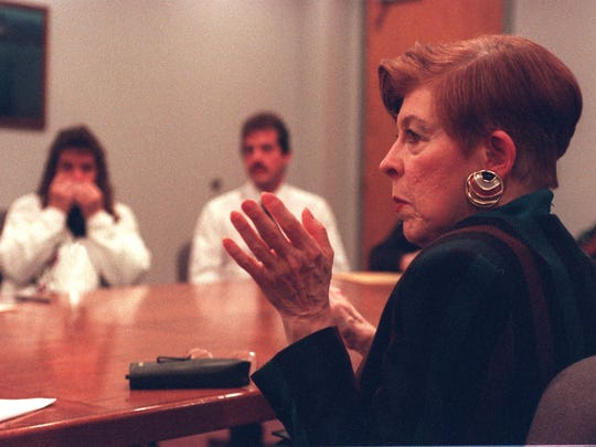 Sue Young, mother of Martha Sue Young, asks a parole board panel to keep Don Miller in prison during a parole panel meeting at the State Department of Corrections in 1997. Miller was convicted of rape and attempted murder in Eaton County and pleaded guilty to two manslaughter charges in the death of two women in Ingham County. He was sentenced to 30-50 years in prison in 1979 on the Eaton County charges, and he was sentenced to 10-15 on the manslaughter charges in Ingham County, with the sentences to be served concurrently.